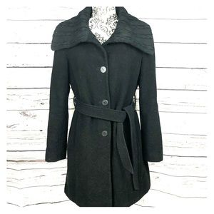 Tahari Wool Blend Belted Button Up Coat Cable Knit Collar Black Small